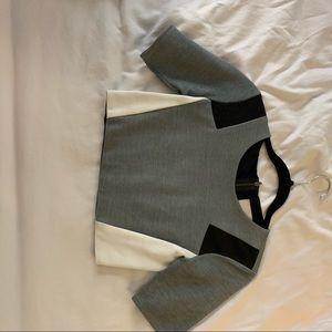 Mason grey & leather crop top